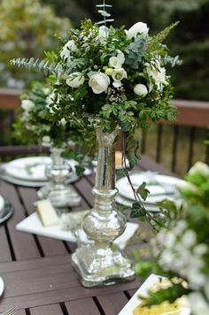 Elegant Al Fresco Brunch + Rosemary Lemonade Sparkler - Style Me Pretty Living Wedding Shower Decorations, Fiesta Decorations, Wedding Flower Arrangements, Floral Arrangements, Wedding Flowers, Garden Wedding Inspiration, Elegant Flowers, Wedding Table Settings, Floral Bouquets