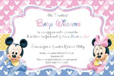 Baby Reveal Gender Party Invitations Baby Mickey by Andabloshop