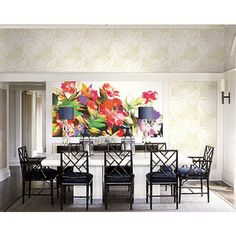 Seabrook Wallpaper CR42101M - Carl Robinson 12-Art - Floral mural with tropical leaf silhouette design wallcovering in a dining room photo