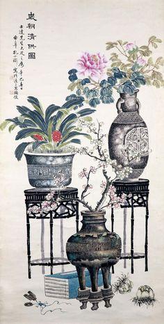 Chinese Painting Flowers, Chinese Flowers, Chinese Brush, Chinese Art, Chinese Contemporary Art, Ink Painting, Botanical Art, Asian Art, Japanese Art