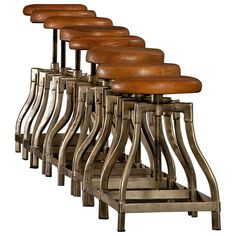 Set of Eight 1920s Jeweler Stools with Brown Leather Seats | From a unique collection of antique and modern stools at http://www.1stdibs.com/furniture/seating/stools/