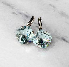Swarovski crystal 12mm fancy square stone golf earrings light azore