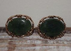 Antique Cufflinks 14k Yellow Gold & Oval Jade Cabochon  #edwardian #artdeco #mens #orginal #gifts #gold #jewelry #mensjewelry