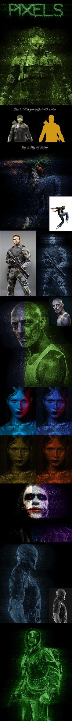 Pixels Photoshop Action - Photo Effects Actions