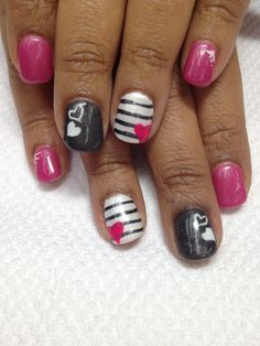 Valentine nails!!! How cool!! Pink, sparkled black & pearled white with pink hearts accents. Hand painted 'love' connected between both thumbs. So fun & funky!! All non-toxic and odorless gel used.