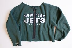 NY Jets vintage sweatshirt with exposed zipper. Customized by Karen Zambos. One of a kind. Fits like oversized Petite/Small.