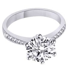 D/VVS1 Engagement Ring 2 Carat Round Cut 14k White Gold Bridal Jewelry + Diamond #AffinityFashionJewelry #SolitairewithAccents