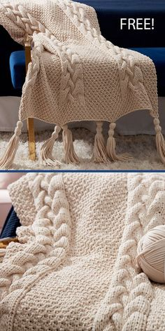 Easy Blanket Knitting Patterns, Knitted Afghans, Afghan Crochet Patterns, Cable Knit Blankets, Quick Knits, Free Knitting, Knitting Needles, Cable Needle, Moss Stitch