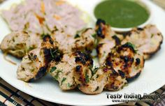 Chicken Reshmi Kebab is made my marinating the Pieces of Boneless Chicken in juicy mixture of Curd, Cream, Cashew nuts and Spices and then Grilled in Oven. Indian Chicken Dishes, Indian Chicken Recipes, Indian Dishes, Indian Food Recipes, Kebab Recipes, Veg Recipes, Cooking Recipes, Recipies, Cooking Kale