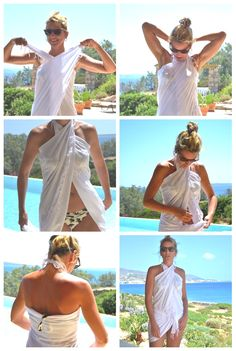 Vassia Gika How to wear a Pareo 2 Collage Sarong Tying, Sarong Wrap, Scarf Top, Scarf Shirt, Fashion Moda, Diy Fashion, Holiday Outfits, Summer Outfits, Diy Clothes And Shoes