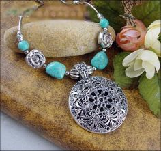 Turquoise Hollow Carved Flower Necklace