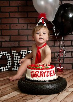 Cute Cake stand for little boys party a tire and black and white checked racing party theme