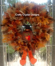 Thanksgiving Turkey Wreath by CraftyCrystalDesigns on Etsy, $65.00