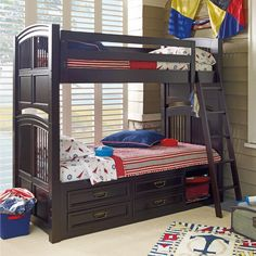 Nautical boys' room - great bunk bed!