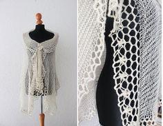 cream wedding shawl lace bridal stole  knitted alpaca by Wollarium, $175.00
