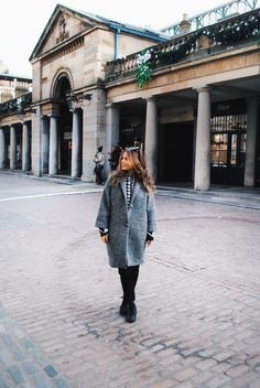 Victoria C outfit for a weekend in London. Grey coat, black trousers, Nike Huarache by AW LAB.