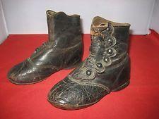 Античная викторианская кожаная детская сапоги обувь для античная немецкая кукла/французский