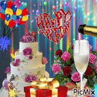 Happy Birthday Cake and Presents - PicMix Happy Birthday Flower Cake, Happy Birthday Fireworks, Happy Birthday Flowers Wishes, Birthday Wishes Songs, Animated Happy Birthday Wishes, Happy Birthday Greetings Friends, Happy Birthday Wishes Images, Happy Birthday Celebration, Happy Birthday Candles