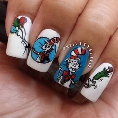 The Cat in the Hat | 15 Works Of Nail Art Inspired By Your Favorite Children's Books #nailart