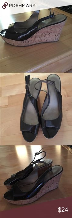 Marc Fisher Chocolate Brown patent Leather wedges Worn a few times. Cute, comfortable, Neutral, goes with almost anything! Marc Fisher Shoes Wedges