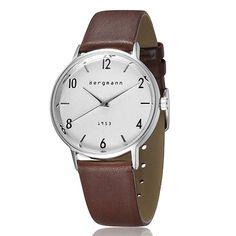 Bergmann Vintage Classic Men Wrist Watch Brown Leather White Dial Brand Gents Watches Quartz 1953
