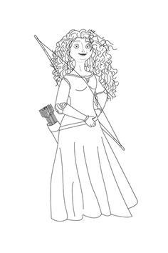 Merida Shows Off Her Bow And Arrows Coloring Page From Brave Category Select 25266