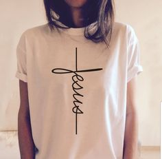 Jesus T-shirt Christian Religious Shirt Tops Tees Best Gifts For Church Disciple Look Fashion, Womens Fashion, Fashion Clothes, T Shirt Fashion, Casual Clothes, Fashion 2018, Ladies Fashion, Fashion Photo, Fashion Dresses
