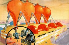 Atomic Power Plant of the Future (1939) - The October, 1939 issue of Amazing Stories published this painting of the atomic power plant of the future. The image can also be found in the book Out of Time by Norman Brosterman.  As noted in the book, the first functioning nuclear reactor was built in 1951.