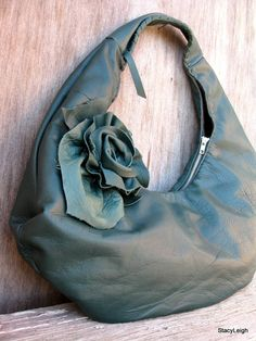Teal Green Leather Hobo Bag with Laced Handle and Rose by stacyleigh