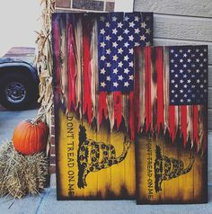 USA/Dont Tread On Me flag. This flag is a mash up of two flags. Old Glory and the Gadsden flag. The tattered ripped ends of the USA flag is taped/painted and cut with a razor 3 times to insure depth and great detail. The Dont Tread On Me logo is also very detailed. This flag is a