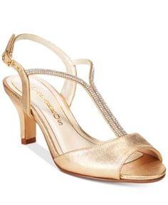 Caparros Delicia T-Strap Evening Sandals - Gold 10.5M