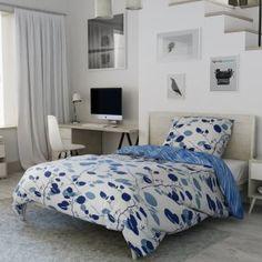 Bavlněné povlečení modré bílé listy lístky stonky zahrada žíhané větvičky Comforters, Blanket, Bed, Furniture, Home Decor, House, Creature Comforts, Quilts, Decoration Home