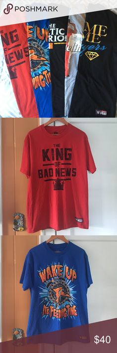 Multiple Authenitc WWE T-Shirts All never worn except Celtic Warrior shirt. Shirts include: * Bad News/King Barrett * Ryback * Sheamus * Jacqueline (Hall of Fame edition) * The Prime Time Players (Darren Young and Titus O'Neil) Will sell for $10 individually if requested, increasing $10 for each shirt added. WWE Authentic Wear Shirts Tees - Short Sleeve