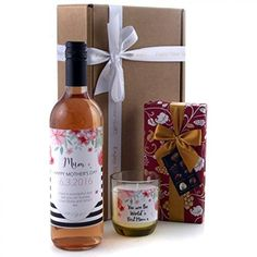 Personalised Wine Label Gift - Mother's Day Chocolates Candle and Wine Gift Hamper Available for Next Day Delivery - Ideal Mother's Day Gift for Her with Rose Wine Mothers Day Chocolates, Personalized Wine Labels, Chocolate Hampers, Luxury Chocolate, Wine Delivery, Valentines Day Gifts For Him, Gift Hampers, Wine Gifts, Happy Mothers Day