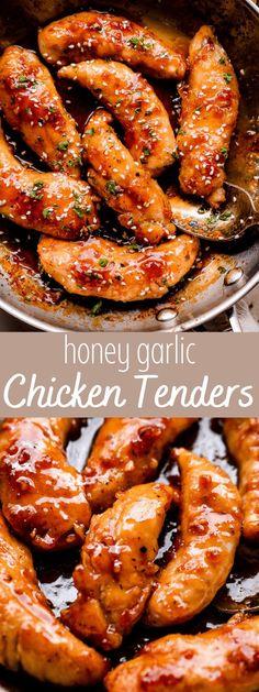 Quick Dinner Recipes, Easy Chicken Recipes, Chicken Meals, Recipes With Chicken Tenders, Easy Sauce For Chicken, Best Chicken Tenders, Honey Glazed Chicken, Honey Soy Garlic Chicken, Honey Garlic Sauce