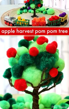 Apple Harvest Pom Pom Tree -- a fun fall fine motor activity or craft from Play Trains!