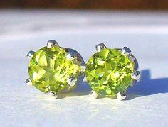 NEW Silver EARRINGS 4mm 1/2ct each Bright Green Mogok-Mined PERIDOT #Handmade #Stud
