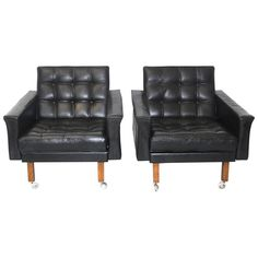 Pair of Leather Armchairs by Johannes Spalt, circa 1959, Austria | See more antique and modern Lounge Chairs at https://www.1stdibs.com/furniture/seating/lounge-chairs