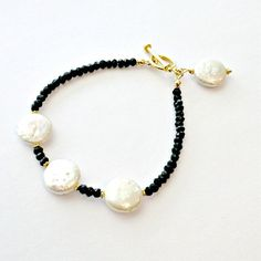 Black White Bracelet Pearl Spinel Gemstone by jewelrybycarmal, $45.00