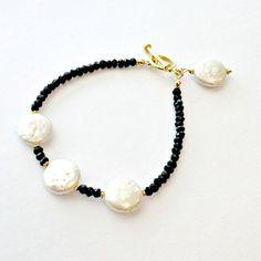 Black White Bracelet  Pearl Spinel Gemstone by jewelrybycarmal