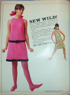 """Colleen Corby, in a cute pink sheath dress made from a McCall's pattern, page from a February 1967 issue of """"Seventeen"""" magazine"""