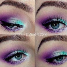 Mint In Violet Purple eyeshadow teal eyeshadow evening look date night make - Make-up stuff to try - Eye Makeup Turquoise Eye Makeup, Purple Eye Makeup, Green Makeup, Colorful Eye Makeup, Turquoise Dress, Purple Eyeshadow Looks, Pink Eyeshadow Look, Eyeshadow Makeup, Eyeshadow Ideas
