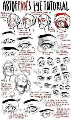 An anon asked me for an eye tutorial I highly recommend looking reference photos on the internet to get used to drawing different eyes, and also to take photos of yourself to get used to drawing different angles/expressions – Don't just... #Anatomytutorial #drawingideas #eyedrawings
