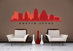Austin TEXAS Skyline Wall Decal Art Vinyl by AmericanDecals, $48.99