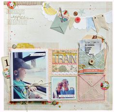 """Step-by-step tutorial on how to make an envelope mini album.     """"Train"""" scrapbook layout by Kim Watson for Creating Keepsakes magazine.   #scrapbook #scrapbooking #creatingkeepsakes"""