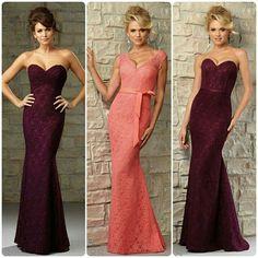 Lace bridesmaids dresses by Mori Lee. Styles: #726 lace, #724 lace, #721 lace
