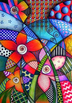by Sandra p.Köche by darcy (Bottle Painting Mandala) Art Fantaisiste, Arte Popular, Whimsical Art, Art Plastique, Art Pop, Doodle Art, Art Lessons, Art For Kids, Folk Art