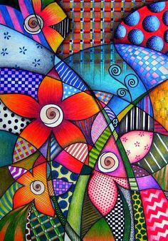 Lápis de cor e canetas hidrocor sobre papel