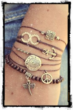 stacked friendship bracelets layered arm party boho bohemian brown silver inexpensive cheap summer jewelry