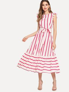 Shop Self Belted Ruffle Trim Striped Dress online. SheIn offers Self Belted Ruffle Trim Striped Dress & more to fit your fashionable needs. Casual Dresses, Fashion Dresses, Girls Dresses, Summer Dresses, Mode Hijab, Indian Designer Wear, Latest Dress, Ruffle Trim, Striped Dress